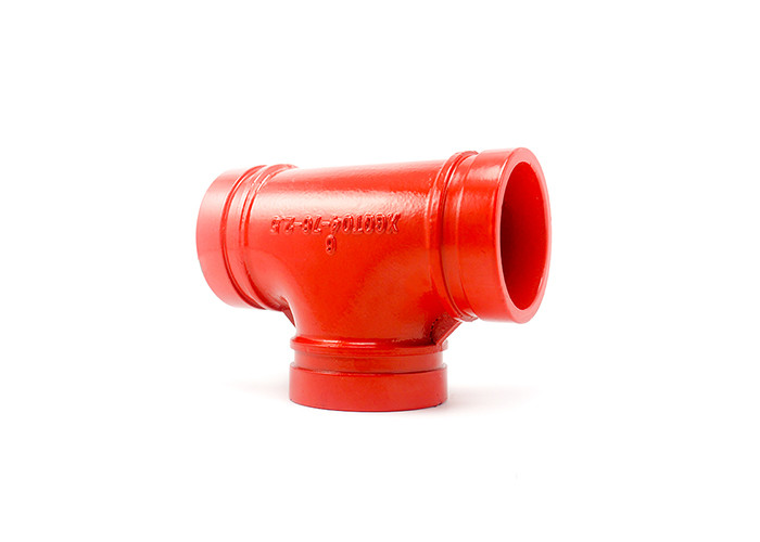"Red Epoxy Ductile Iron Grooved Pipe Fittings Grooved Mechanical Tee 1"" - 24"""