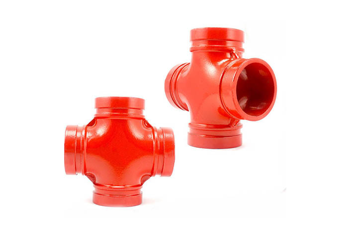 DIN Standard Ductile Iron Water Pipe Fittings Grooved Plumbing Cross OEM Available